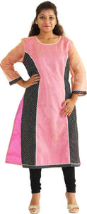 MANURATH  Women Self Design Straight Kurta  (Pink, Black)
