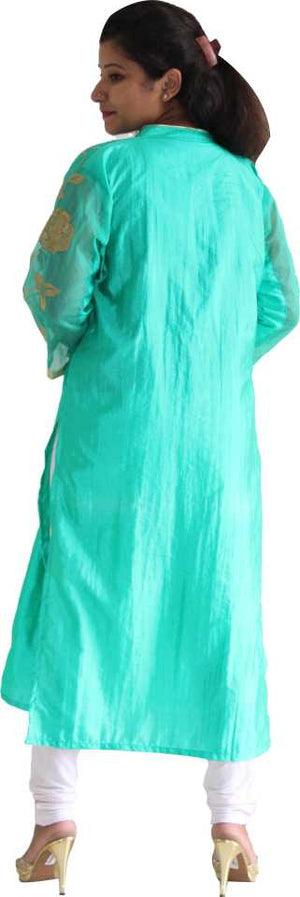MANURATH  Women Self Design Straight Kurta  (Light Green, Gold)