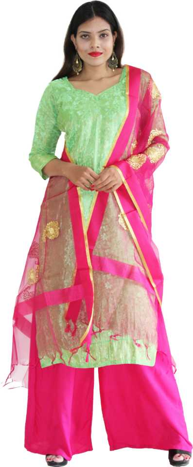 MANURATH Art Silk Self Design Salwar and Dupatta Material  (Unstitched)
