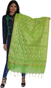 MANURATH  Pure Silk Woven Green, Gold Women Dupatta