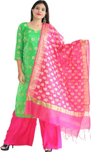 MANURATH  Art Silk Woven Pink, Gold Women Dupatta