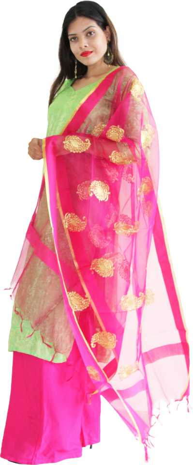 MANURATH  Net Self Design Pink, Gold Women Dupatta