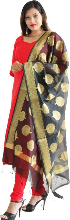 MANURATH  Art Silk Woven Black, Gold Women Dupatta