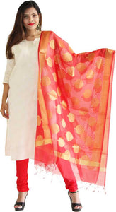 MANURATH  Art Silk Woven Red, Gold Women Dupatta