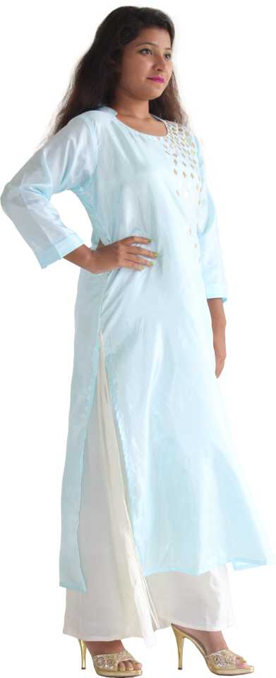 MANURATH  Women Self Design Straight Kurta  (Light Blue)