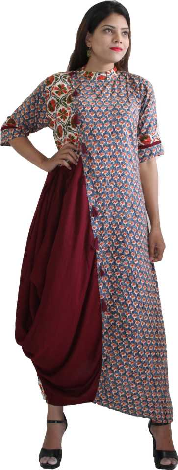 MANURATH  Women Floral Print Flared Kurta  (Maroon, Light Blue)