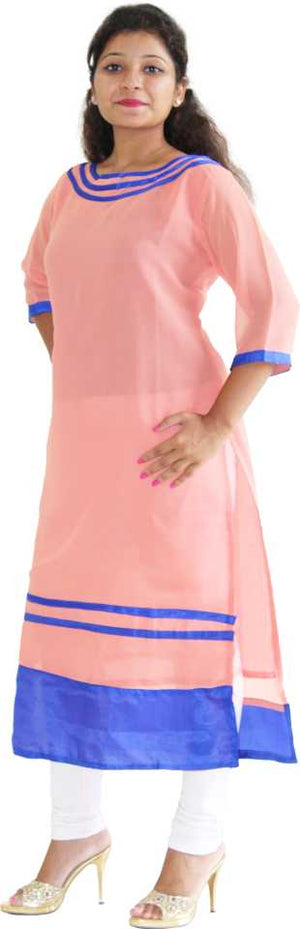 MANURATH  Women Self Design Straight Kurta  (Pink, Blue)