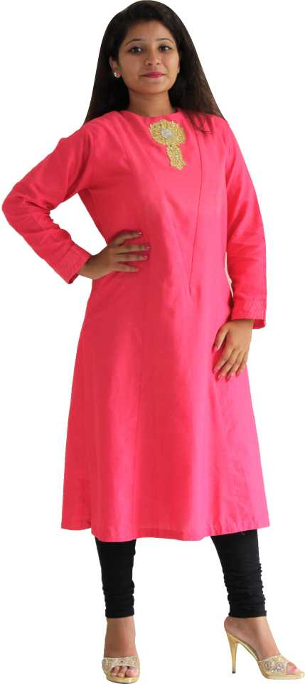 MANURATH  Women Self Design Straight Kurta  (Pink, Gold)