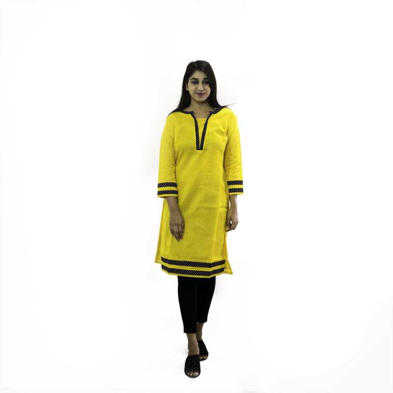 Manurath Women Striped Straight Kurta  (Yellow, Black)