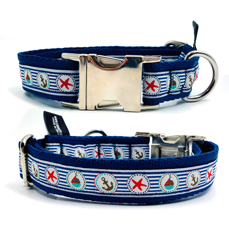 OhMyDog! Collare per cani Blue striped nautical - Collare con applicazione  - Connecto.dog