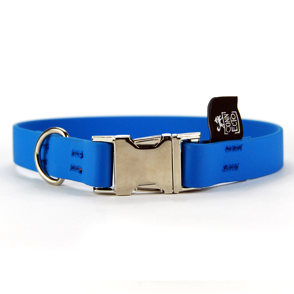 Collare per cani fisso in Biothane Azzurro 20mm x 44,5cm buckle in alluminio - Special Price  - Connecto.dog