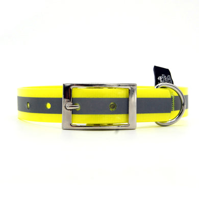 Collare impermeabile 25mm Giallo Fluo con catarifrangente con fibbia in alluminio - Collari in PVC/TPU  - Connecto.dog