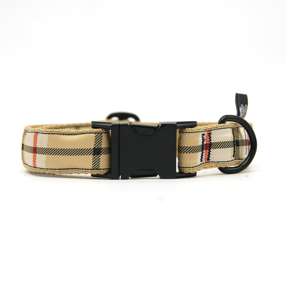 OhMyDog! Collare per cani Tan Woven Plaid - Collare con applicazione  - Connecto.dog