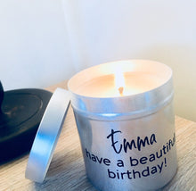 "NEW! - Personalised Candle Tin with Gift Box & Bag / 18 ""Statements"" to choose from"