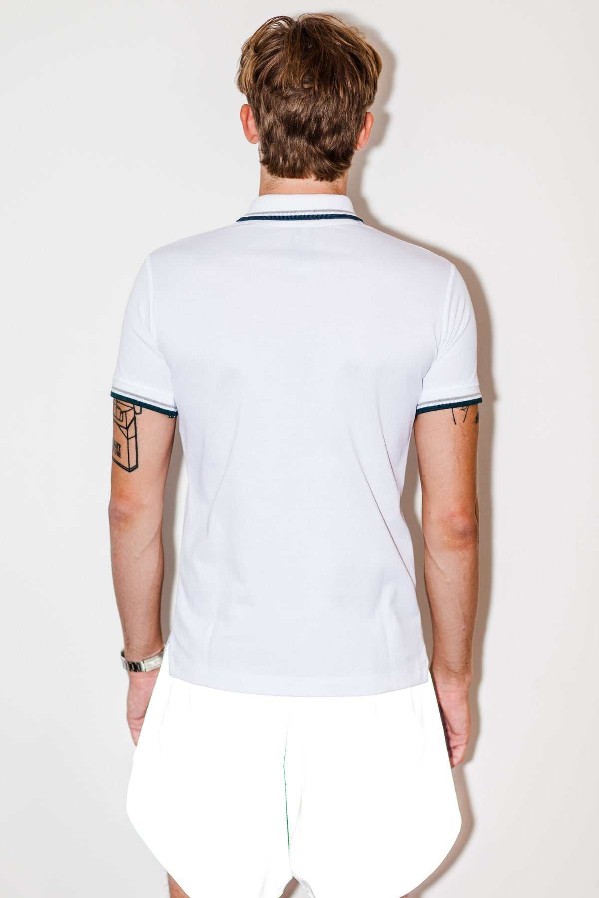 White polo with invisible zip