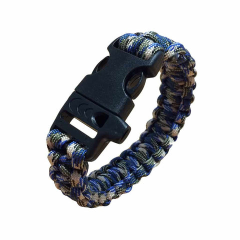 Paracord survival bracelet - Blue Green White