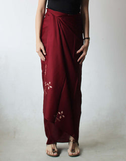 KUPU - Silk Sarong Burgundy Red