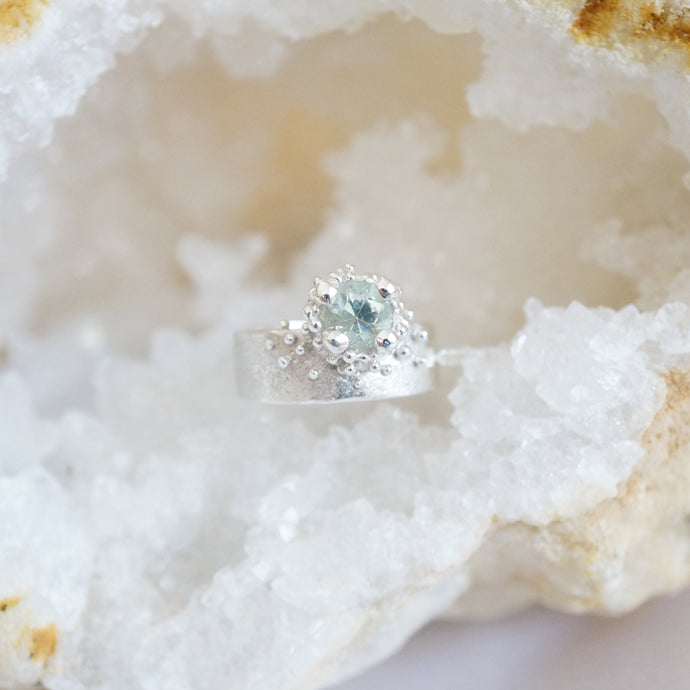 Aquamarine Granulation Ring