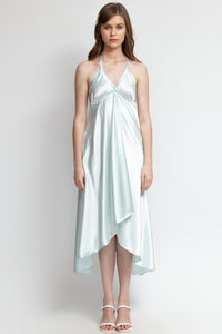 DAYLILY SHORE: Daylily Midi Satin  - An effortless flirty satin dress.