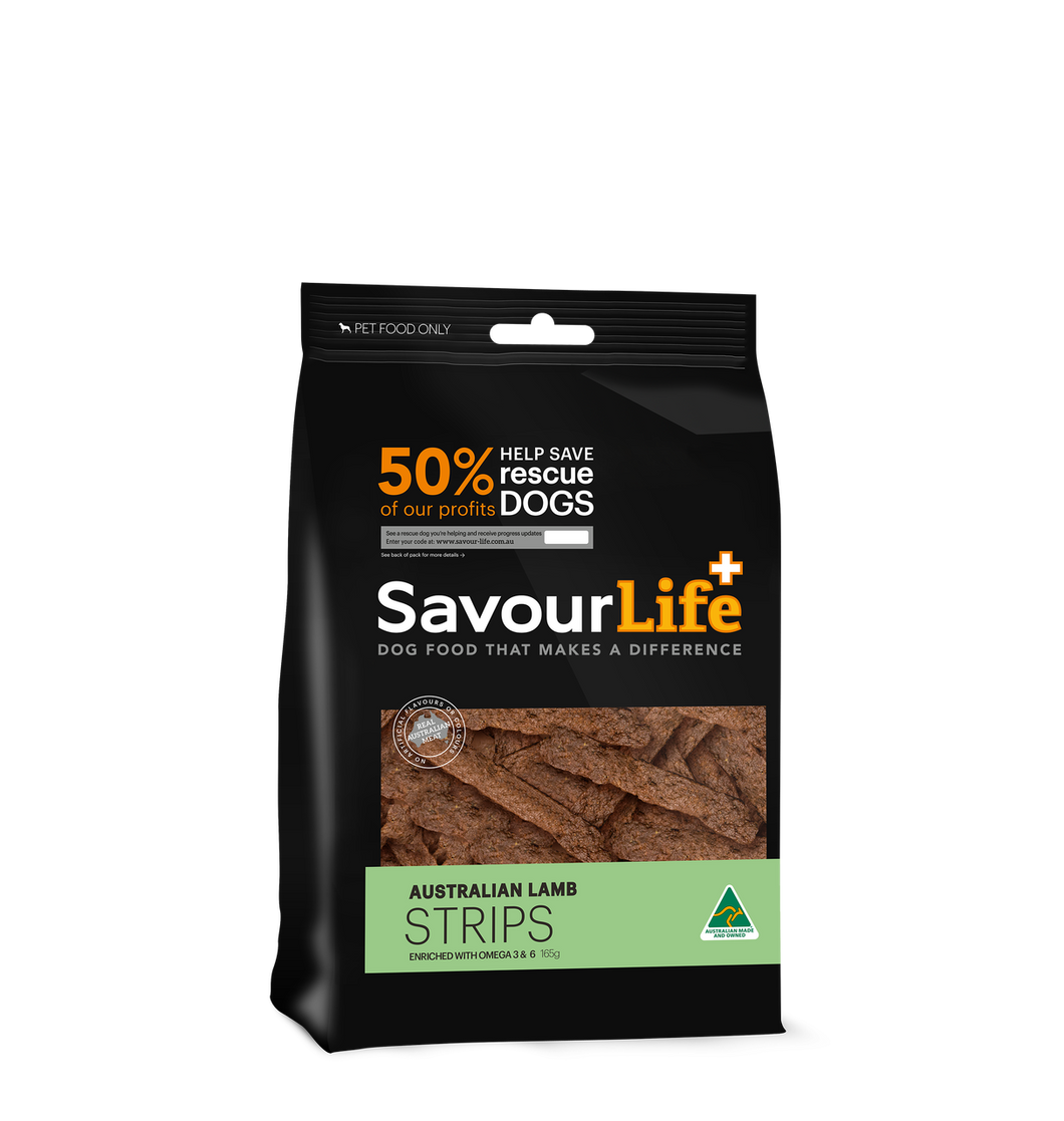 Savourlife Australian Lamb Strips 165g, The Dogs Stuff