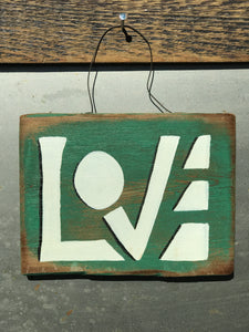 LOVE  / Upcycled Hand-painted Wood Sign