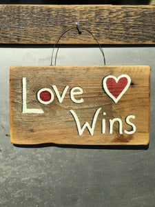 Love Wins / Upcycled Hand-painted Wood Sign