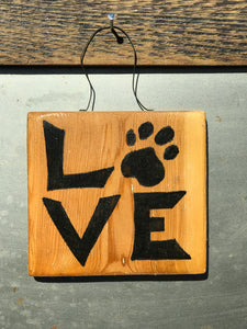 LOVE with paw print / Upcycled Hand-painted Wood Sign