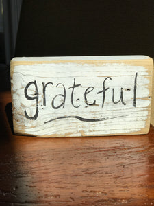 Grateful - Upcycled Hand-painted Wood Block