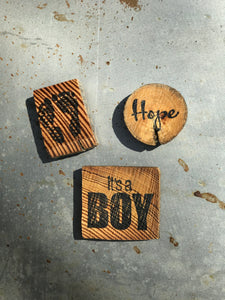 It's A Boy / Baby Feet / Hope (Set of 3) - Upcycled Hand-made Wood Magnets