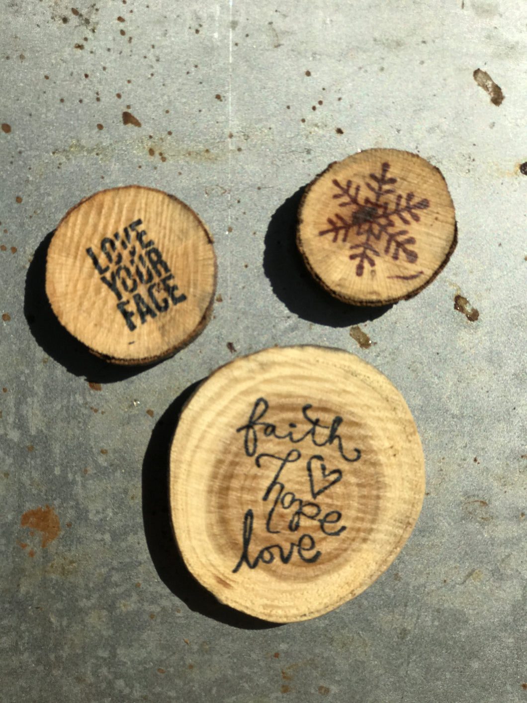 Faith Hope Love / Snowflake / Love Your Face (Set of 3) - Upcycled Hand-made Wood Magnets