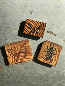 Butterfly / Bee / Dragonfly (Set of 3) - Upcycled Hand-made Wood Magnets