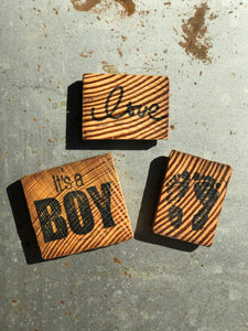 It's A Boy / Love / Baby Feet (Set of 3) - Upcycled Hand-made Wood Magnets