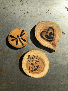 Faith Hope Love / Dragonfly / Heart (Set of 3) - Upcycled Hand-made Wood Magnets