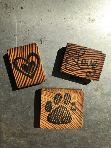 Dog Paw Print / Love / Heart (Set of 3) - Upcycled Hand-made Wood Magnets