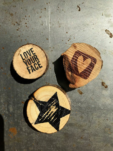 Love Your Face / Heart / Star (Set of 3) - Upcycled Hand-made Wood Magnets