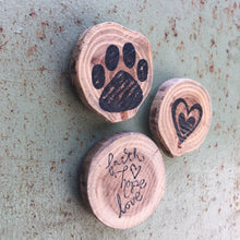 Faith Hope Love / Dog Paw Print / Heart (Set of 3) - Upcycled Hand-made Wood Magnets