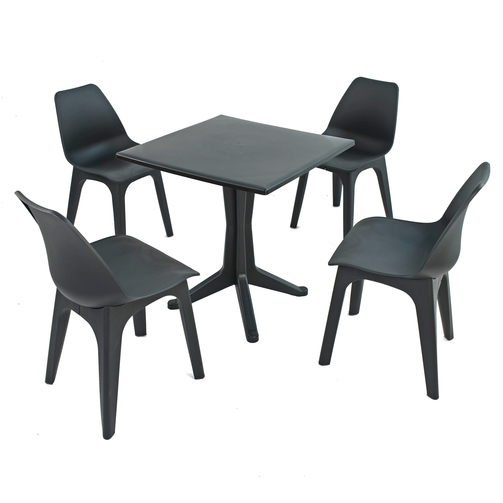 Trabella Anthracite Ponente Dining Table With 4 Eolo Chairs
