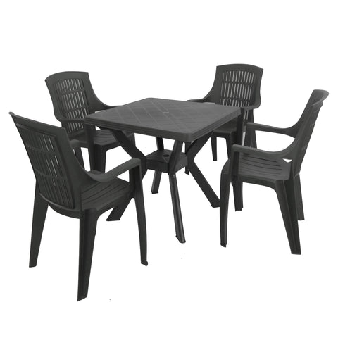 Trabella Turin Table With 4 Parma Chairs Garden Set in Anthracite - Ruby's Garden Boutique