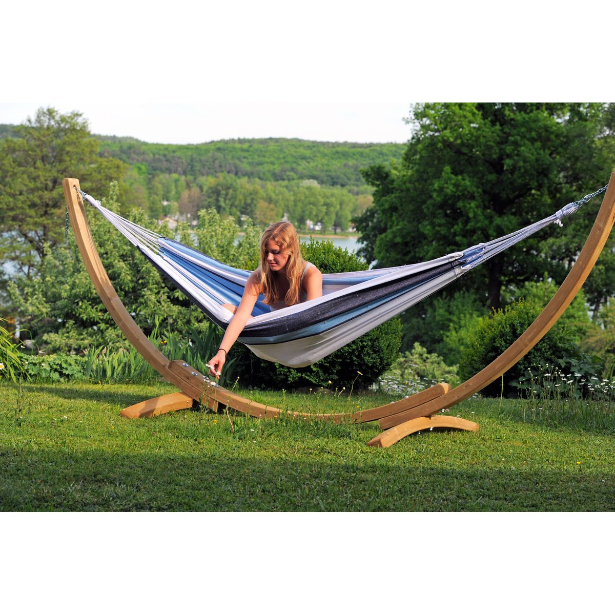 Amazonas Apollo Marine Hammock and Wooden Stand Set - Ruby's Garden Boutique