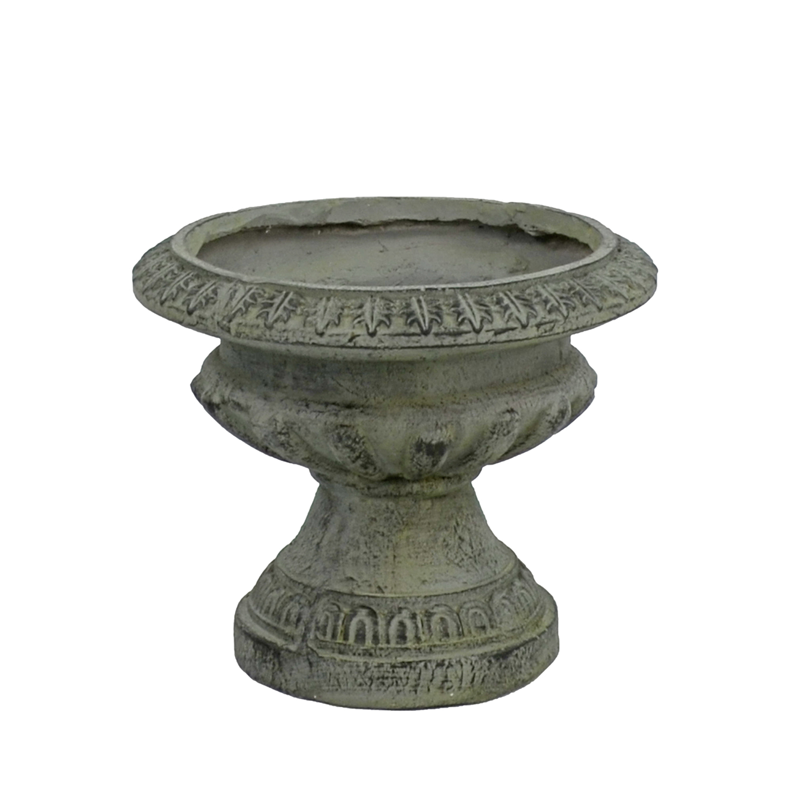 Solstice Sculptures Fluted Urn Low 28cm Verdigris Effect