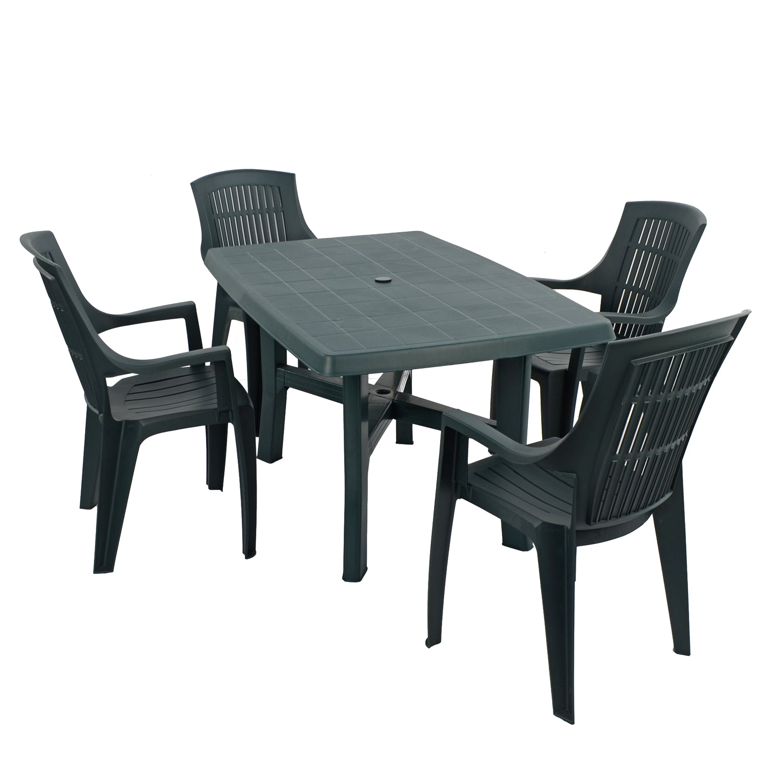 Trabella Taranto Table with 4 Parma Chairs Garden Set in Green - Ruby's Garden Boutique