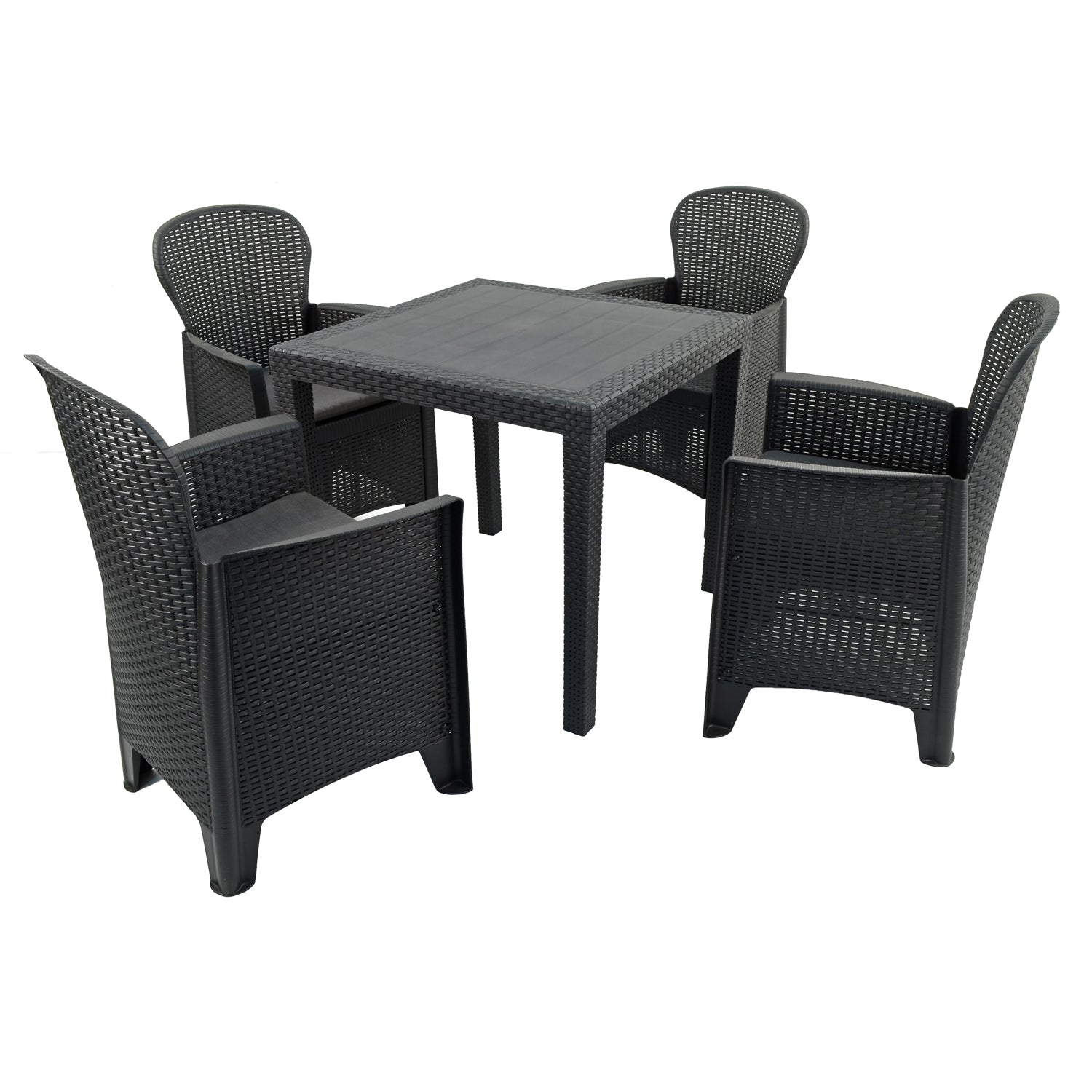 Trabella Salerno Square Table with 4 Sicily Chairs Garden Set Anthracite - Ruby's Garden Boutique