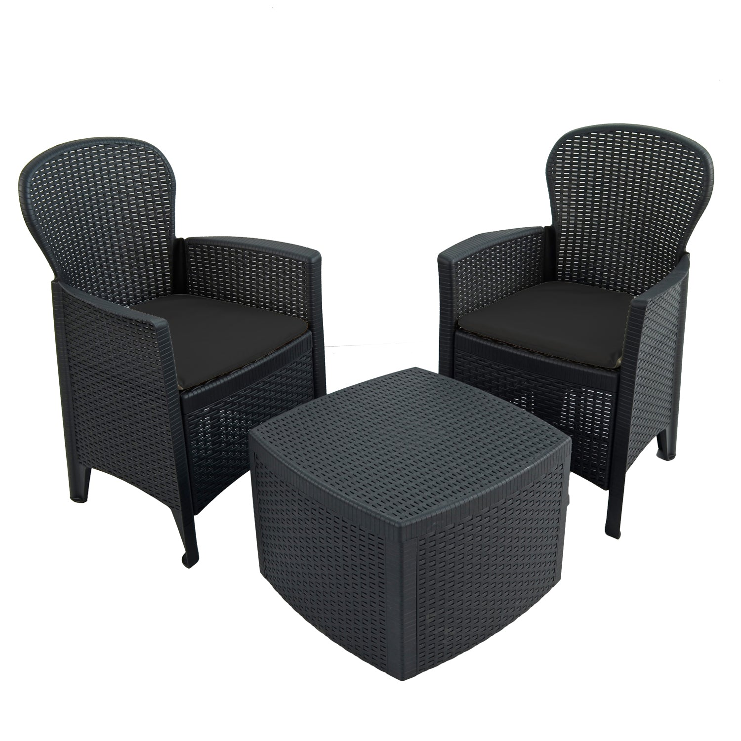 Trabella Sicily Side Table with 2 Sicily Chairs Set Anthracite - Ruby's Garden Boutique