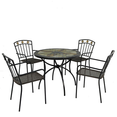 Exclusive Garden Montilla 91cm Patio Table with 4 Malaga Chairs - Ruby's Garden Boutique