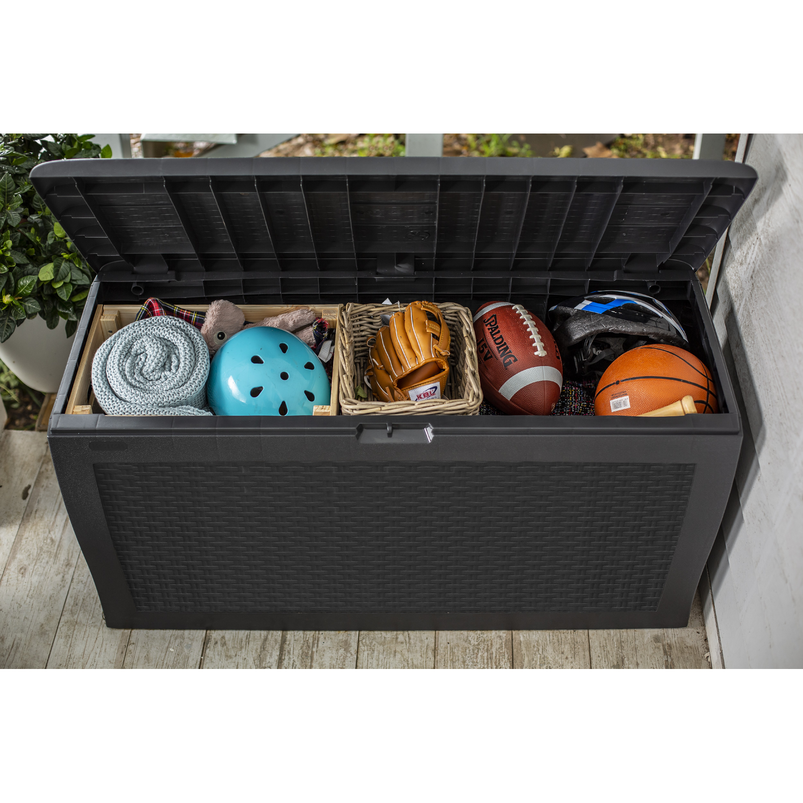 Keter Samoa Storage Box with lid open showing handy storage
