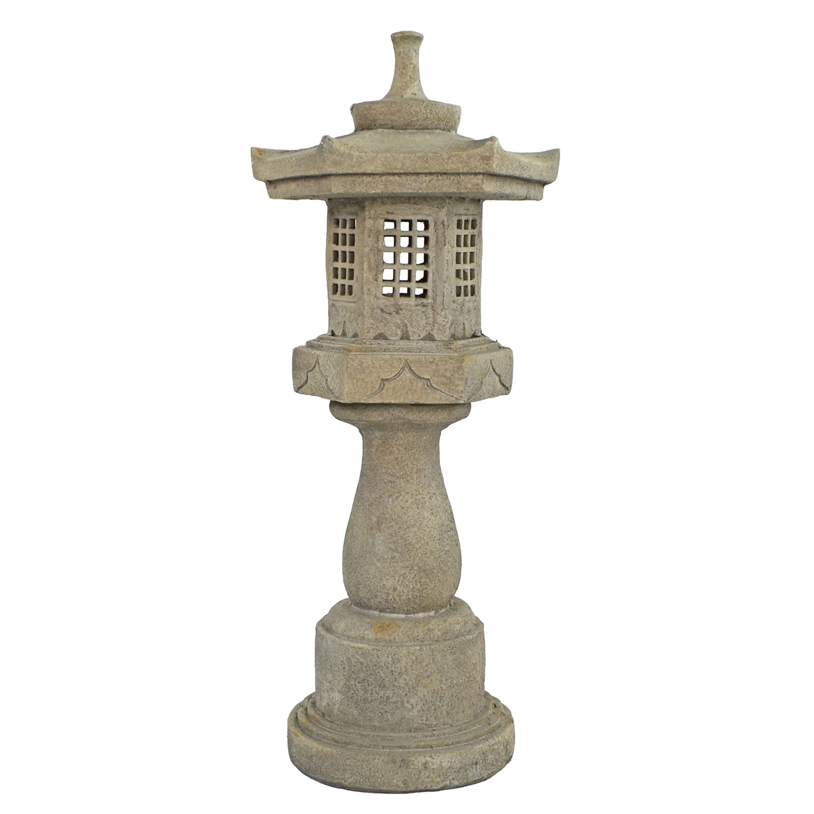 Solstice Sculptures Pagoda On Pedestal 96cm Weathered Dark Stone Effect