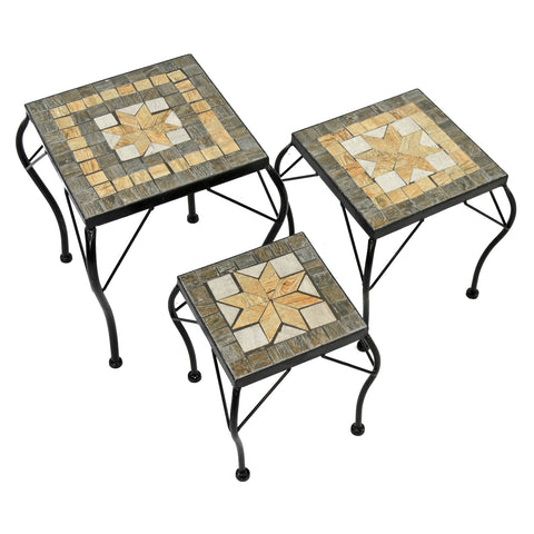 Summer Terrace Brava Square Plantstand Set Of 3 Low - Ruby's Garden Boutique