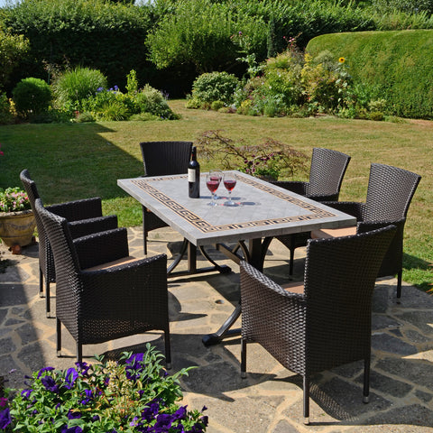 Byron Manor Burlington Ceramic Garden Dining Table With 6 Stockholm Brown Chairs - Ruby's Garden Boutique