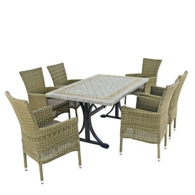 Byron Manor Burlington Dining Table With 6 Dorchester Chairs Set - Ruby's Garden Boutique
