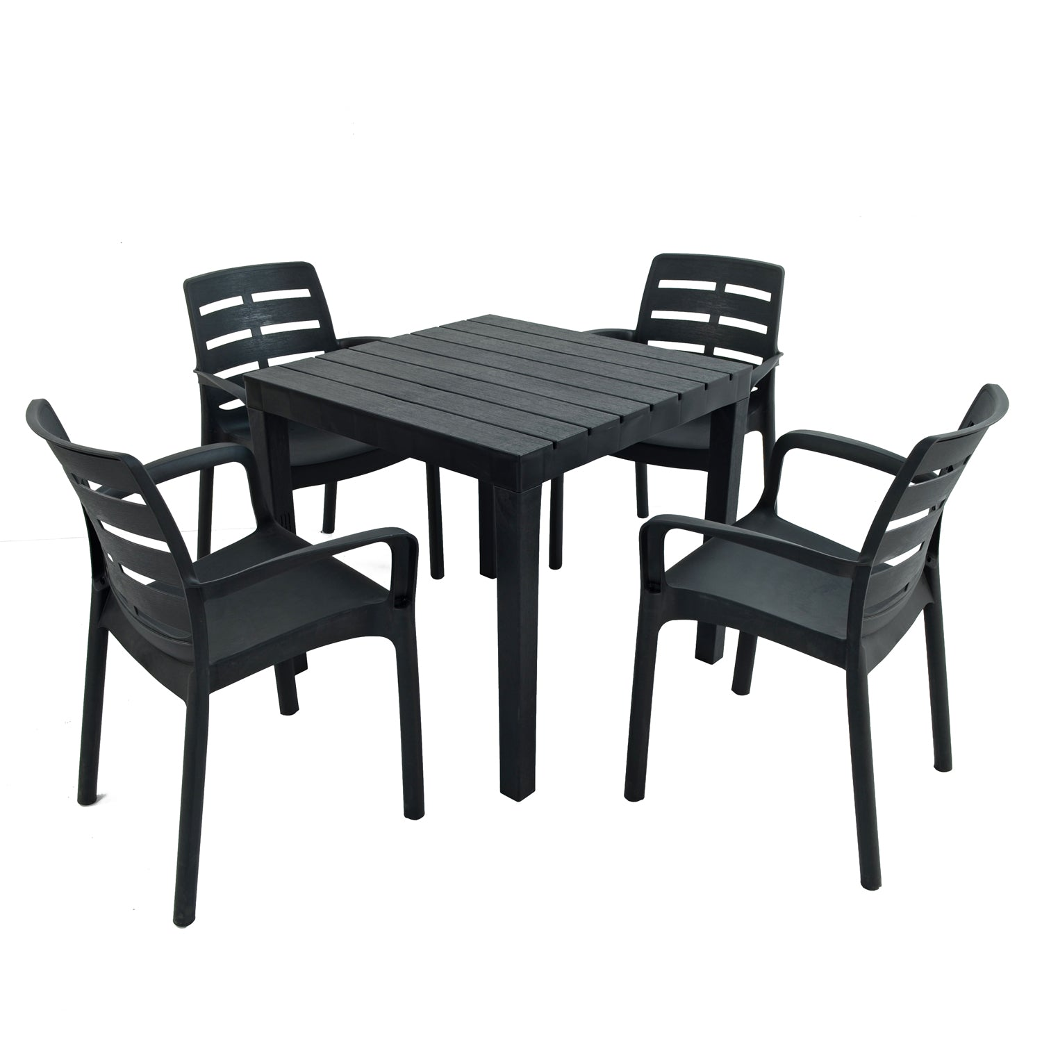 Trabella Roma Square Table With 4 Siena Chairs Garden Set in Anthracite - Ruby's Garden Boutique